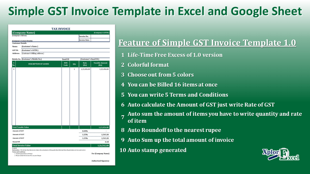 5 Simple GST Invoice Template in Excel and Google Sheet – Free